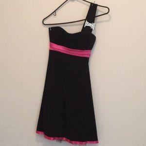 Black dress with hot pink trim